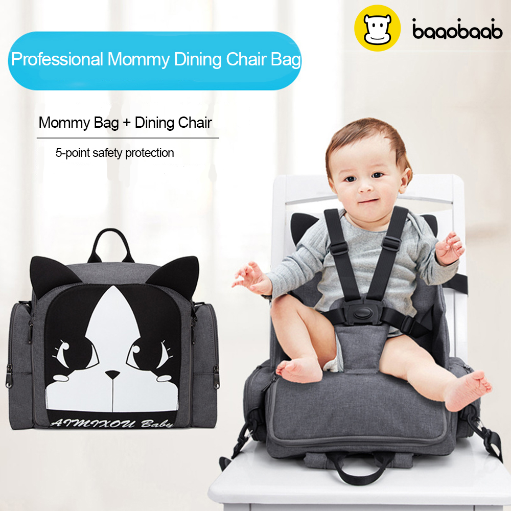 Baaobaab CYB1 Dining Chair Booster Seats Mummy Maternity Nappy Bag Large Capacity Fashion Travel Stroller Backpack 6-36 Month