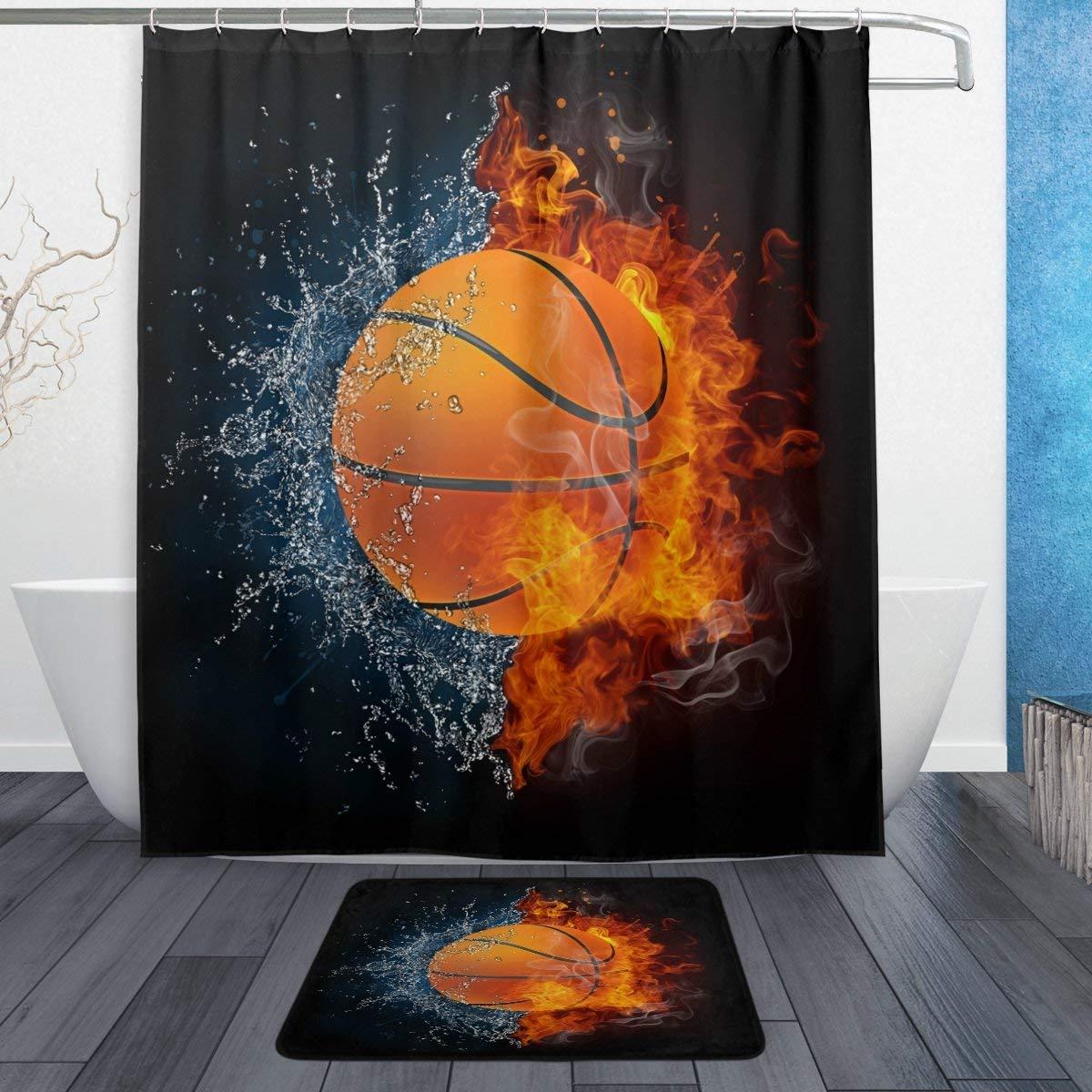Flame Basketball Shower Curtain Bath Mat Toilet Cover Rug Bathroom Decor Set