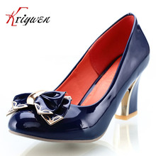 Large size 34-43round toe sweet bowtie thick high heels women shoes fahsion brand ladies shallow patent PU leather Elegant pumps