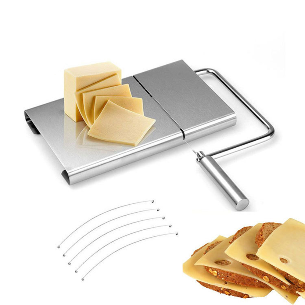 New Stainless Steel <font><b>Cheese</b></font> <font><b>Slicer</b></font> Tool 1PC <font><b>Cheese</b></font> <font><b>Slicer</b></font> <font><b>Wire</b></font> Cutter With Serving Board for Hard Semi Hard <font><b>Cheese</b></font> Butter image