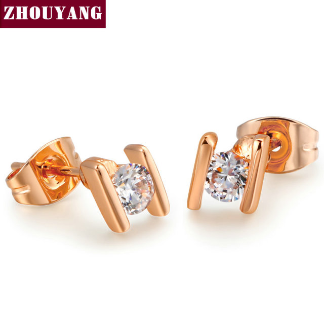 Alphabet H Real Rose Gold Color Stud Earrings Jewelry Austrian Crystal Wholesale For Women party Top Quality ZYE010
