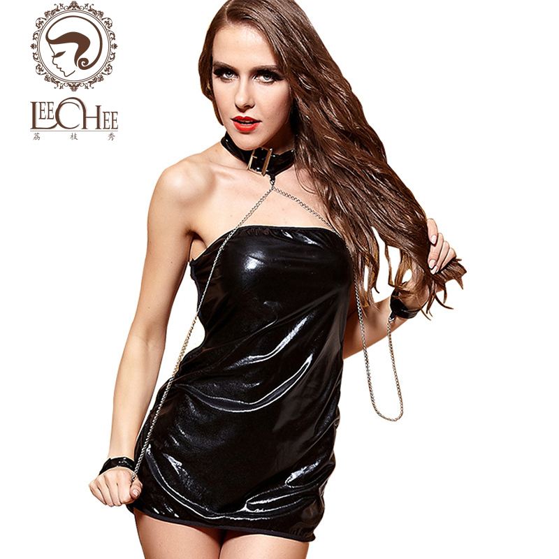 Leeches Q903 latex women lingerie sexy hot erotic PU leather bodysuit hot garter hollow out cosplay uniform sexy shop