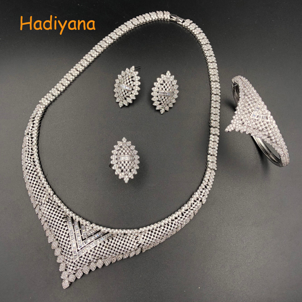 Hadiyana Brass 4pcs Bridal Cubic Zirconia Jewelry Sets For Women Party, Luxury Dubai African CZ Stone Wedding Jewelry Sets 1518WHadiyana Brass 4pcs Bridal Cubic Zirconia Jewelry Sets For Women Party, Luxury Dubai African CZ Stone Wedding Jewelry Sets 1518W