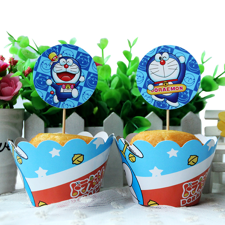 120pcs Doraemon Party Paper Cupcake wrappers toppers for kids party Birthday decoration cake cups(60 wraps+60 topper)