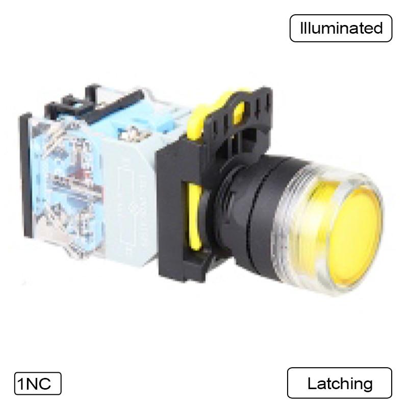 69ca4b199f 5 unids interruptor de botón Botón flush LED enclavamiento o momentáneo  impermeable IP65 LA115-B5-11HFD-Y31