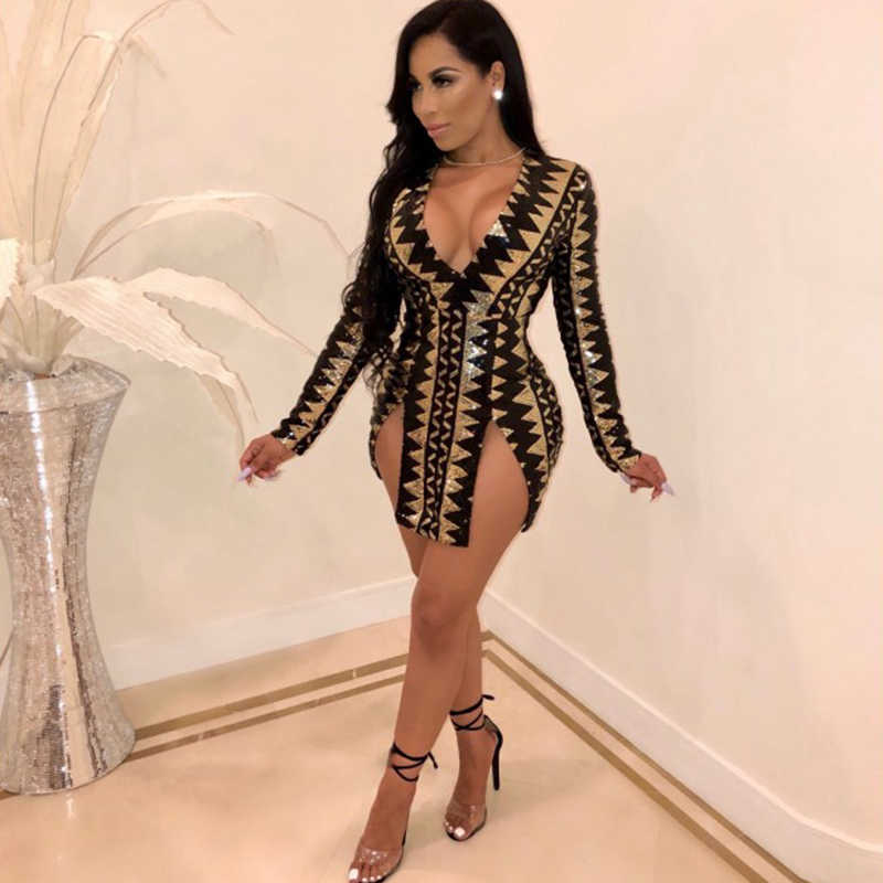 deep V neck geometric sequin dresses women double slit sexy bodycon mini  dress long sleeve zig 5ed5a4e00b16