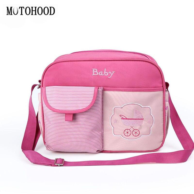 MOTOHOOD Baby Changing Nappy Diaper Bag Fashion Flower Printing  Women Stroller Tote Bag Mother Bag Organizer Portable