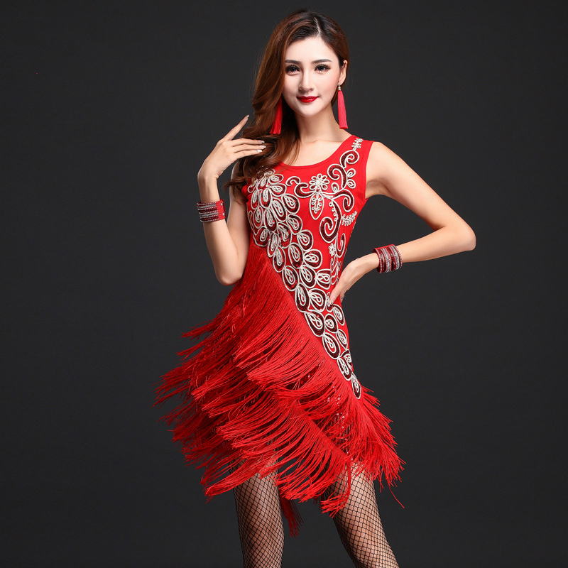 2017 Hot style <font><b>Sex</b></font> Stage Women Performance costume Lady red tassels sequin Latin Dance Women ballroom dance competition <font><b>dresses</b></font> image