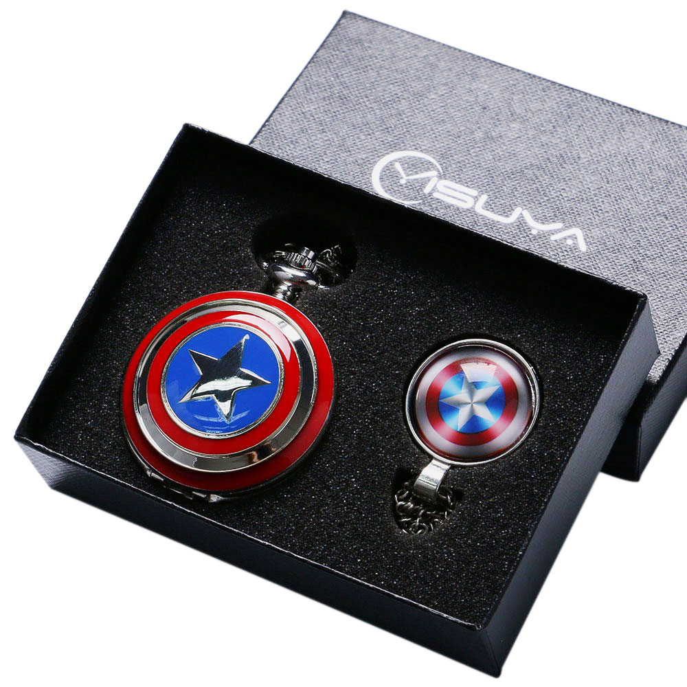 Fashion Cool Captain America Avengers Shield Quartz Pocket Watch Set Necklace+Fob Chain+Gift Box for Men Boy