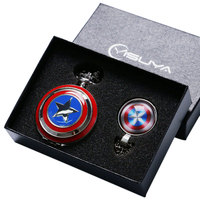 Fashion Cool Captain America Avengers Shield Quartz Pocket Watch Set Necklace Fob Chain Gift Box For