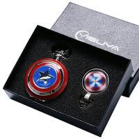 Fashion Cool Captain America Avengers Shield Quartz Pocket Watch Set Necklace Fob Chain Gift Box For