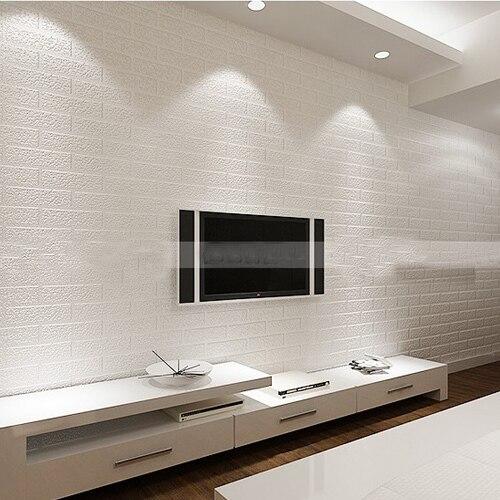 White Pvc Brick Wallpaper Stone Vinyl Wall Wall Paper 3d Papel De Parede Tijolo For Living