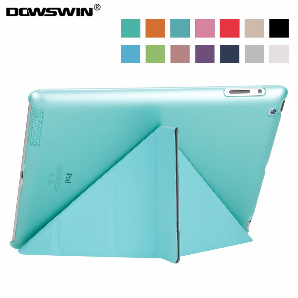 for ipad 2 3 4 case,dowswin pu leather smart wake up sleep+matte pc back cover 11-fold magnetic flip stand with small gift