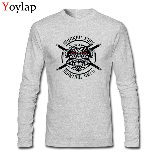 b08d2a6d6e Funny Monkey King Men Crazy Design Tops Tees Long Sleeve Male T-shirt  Cotton Unfading Clothing Discounted