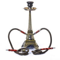 New Metal Paris Tower Shisha Pipe Glass Base Hookah Set with Double Hoses Charcoal Tongs Cigarette Smoke Water Pipe Filter