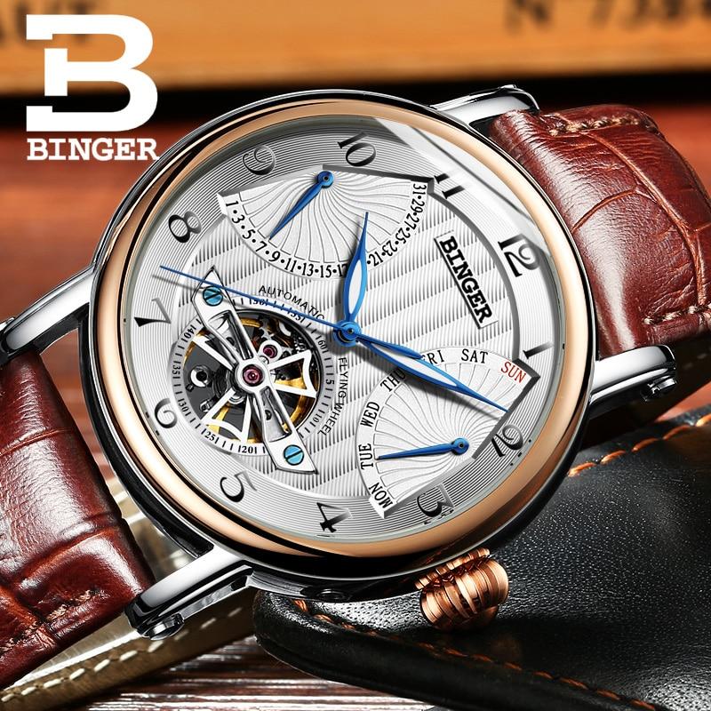 2017 BINGER Skeleton Tourbillon Mechanical Watch Automatic Men Classic Rose Gold Leather Fashion Wrist Watches Reloj Hombre