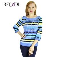 BFDADI 2016 Fashion Summer Autumn Women T Shirt tops O neck Three quarters Sleeves t shirt Striped Top Free Shipping 7 9650