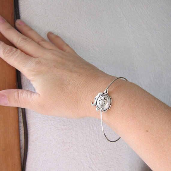 כסף/צבע זהב פיל מזל טוב עם 4 עלה תכשיטי מכירת חמה רטרו יפה תלתן צמיד מתנה לחבר YPQ0116