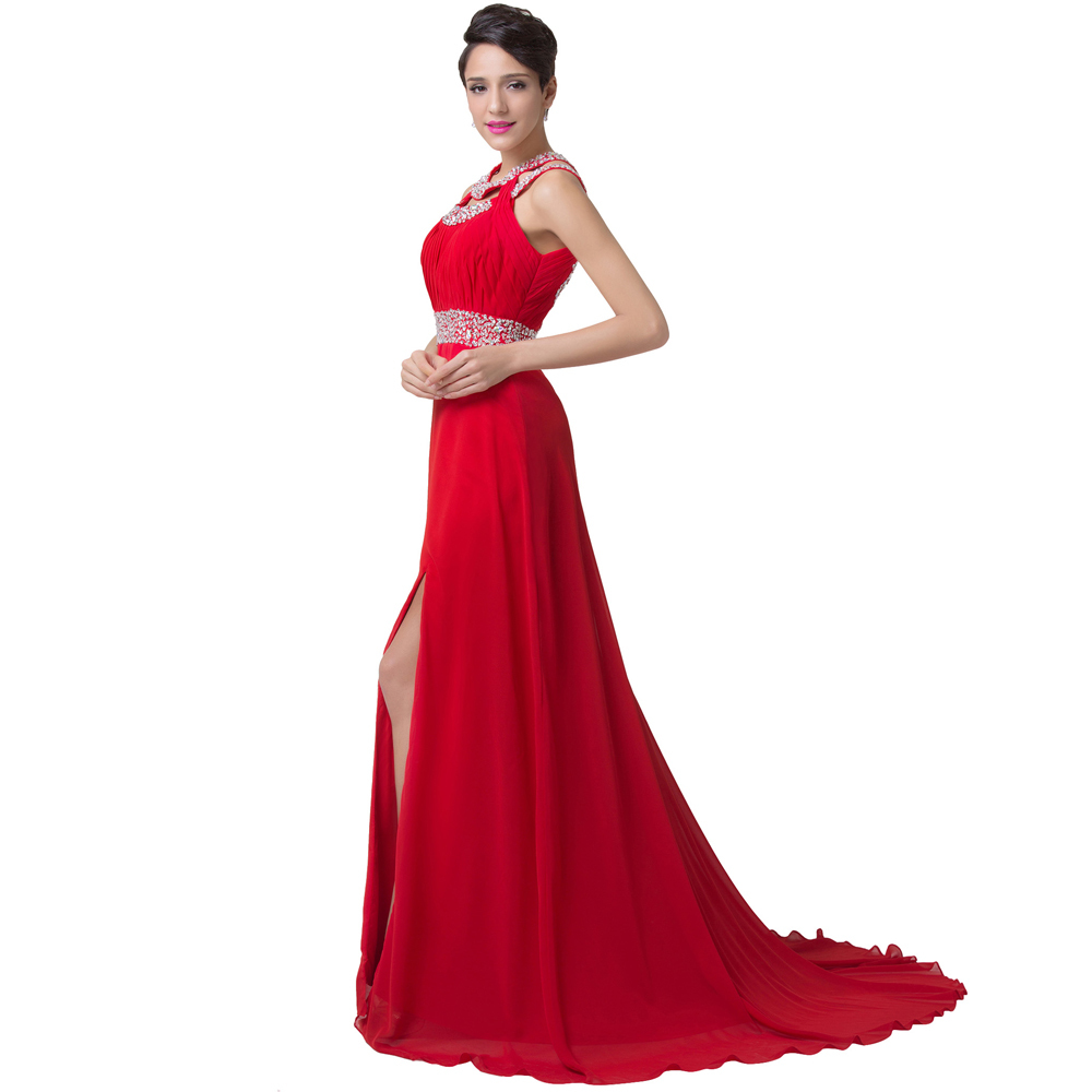Grace Karin Most Beautiful Long Red Evening Dresses Chiffon Sequins Embellished Split Gown Ruched Formal Cl6248 In From