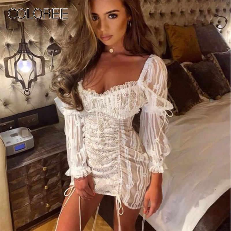 COLOREE High Quality White/Black <font><b>Summer</b></font> <font><b>Women</b></font> <font><b>Fashion</b></font> <font><b>Sexy</b></font> <font><b>Dress</b></font> Embroidery Lace Up Backless Party <font><b>Dress</b></font> Vacation <font><b>Beach</b></font> <font><b>Dress</b></font> image
