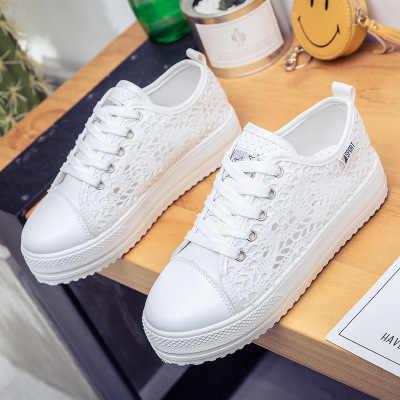 2019 nuevos zapatos casuales de lona de encaje zapatos de verano para mujer zapatos planos de plataforma respirables florales huecos Color negro blanco