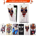 High quality fashion cartoon pattern flip up and down leather case for DEXP Ixion X140 Aspect ,Free gift