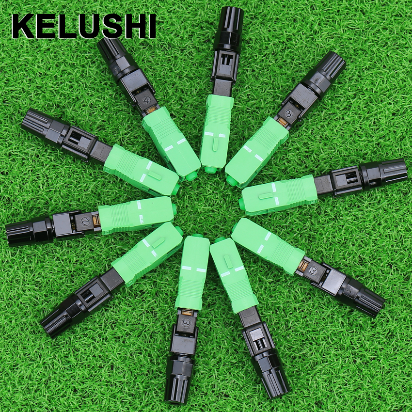 KELUSHI 100pcs SC A P C fast connector / fiber optic fast connector / used fiber cable quick connector