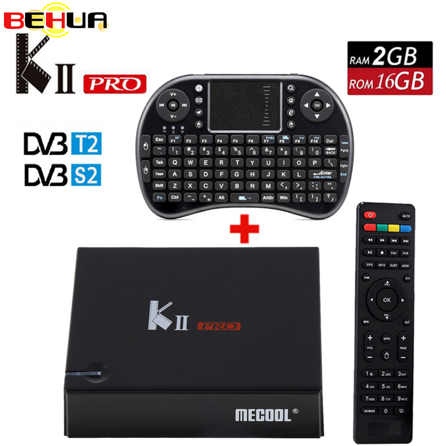 все цены на Original KII Pro Smart Android 7.1 TV Box DVB-T2 DVB-S2 Amlogic S905 4K Media Player 2G+16G WIFI K2 PRO Set Top Box +i8 Keyboard