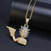 Iced Out Rick & Morty Pendant Necklace Men Gold Silver Color Chain Necklace With Tennis Chain Personalized Hip Hop Charm Jewelry