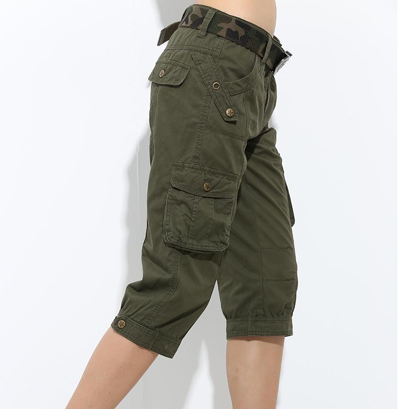 Fashion Summer Casual Army Green Womens Overall Shorts -5434