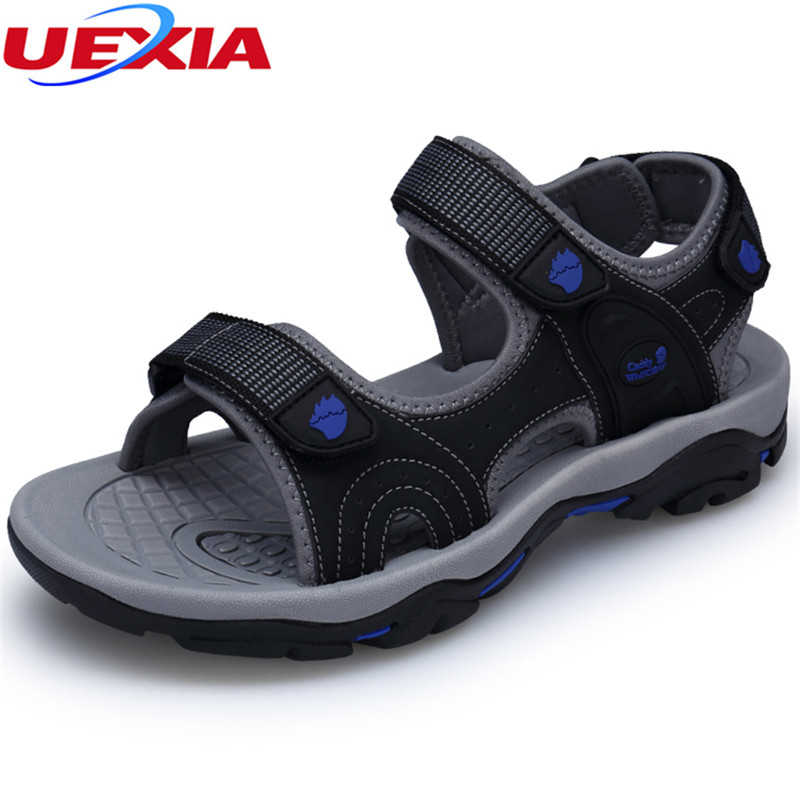 UEXIA 2018 New Mens Sandals Leather Breathable Summer Shoes New Beach Men Casual Shoes Outdoor Sandals for Man Plus Size 39-45