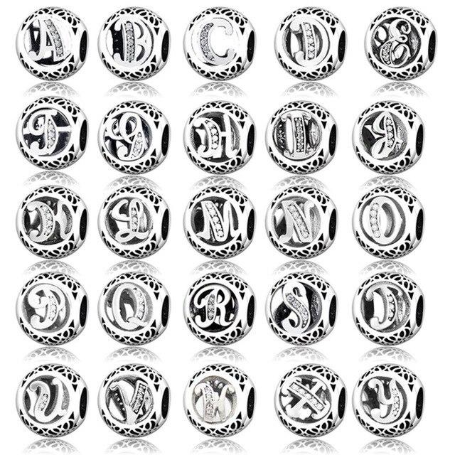 Charme Authentique toutes les lettres argent sterling Bracelet Brace Charms Beads