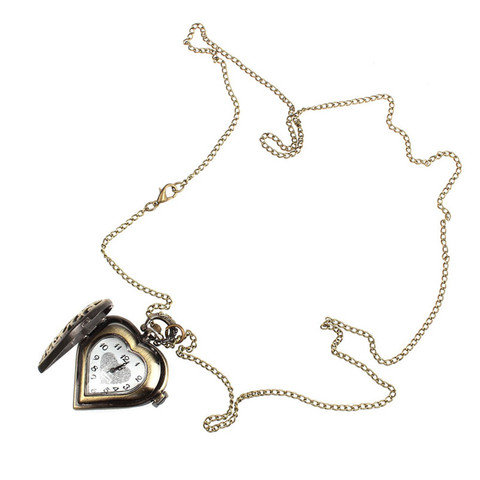 Bronze Alloy Hollow Heart ket Necklace Chri Watch