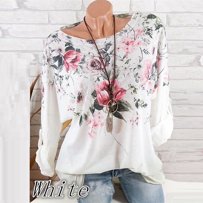 Fashion 5XL Plus Large Size Women 39 s T Shirts Spring Tops New Leisure T Shirt White Loose Flower Print O Neck Long Sleeve Shirts in T Shirts from Women 39 s Clothing