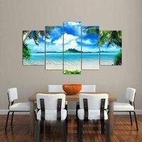 큰 거실 홈 장식 벽 예술 사진 인쇄 푸른 스카이 바다 흰 구름 코코넛 나무 그림 캔버스 아트/PT0202