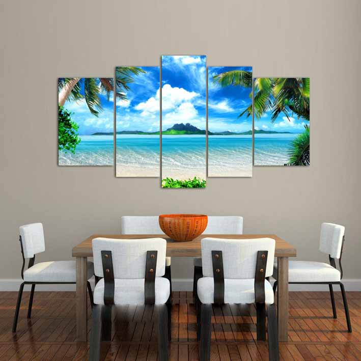 Big living room home decor Wall Art Picture printed Azure Sky Ocean White Clouds Coconut tree Painting on Canvas art /PT0202