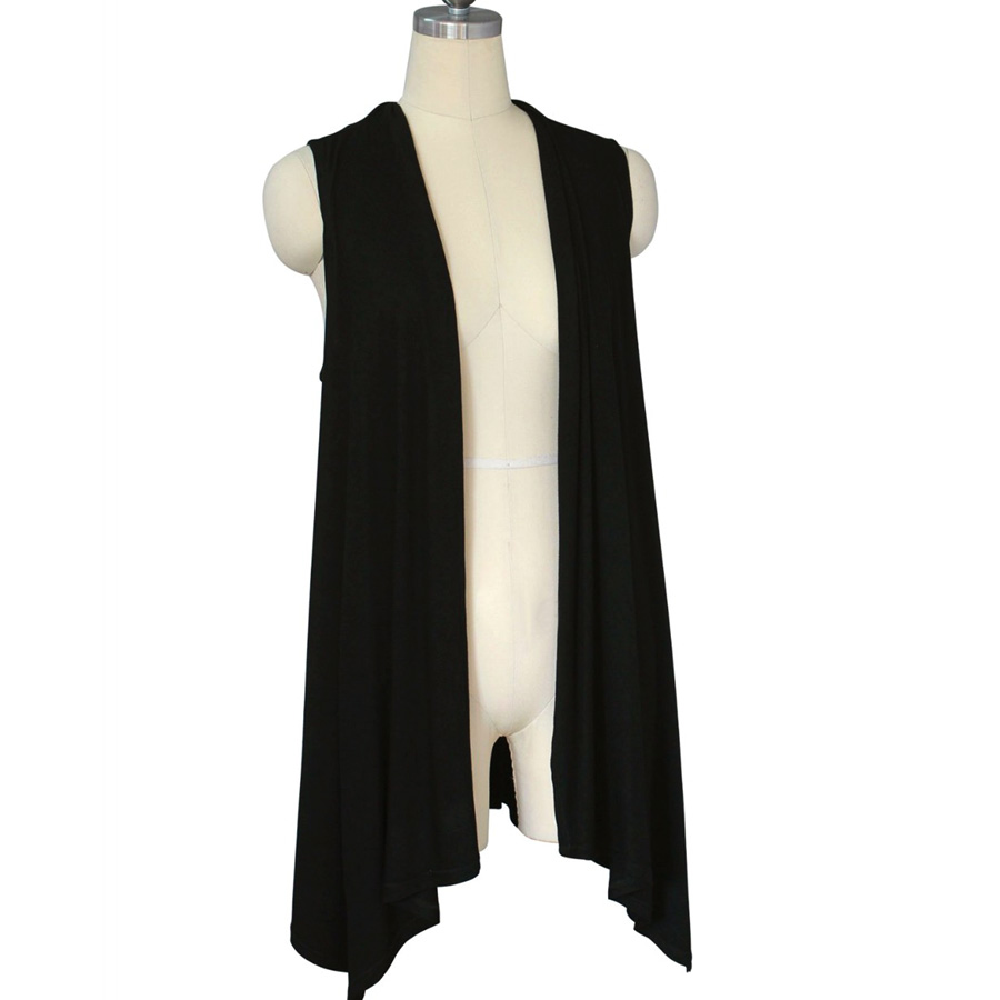 Women Sleeveless Open Stitch Slim Long Cardigan Tops Scarf Collar ...