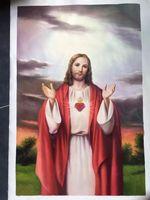 100% 수제 클래식 종교 피규어 예수 유화 거실 중앙 끊기 그림