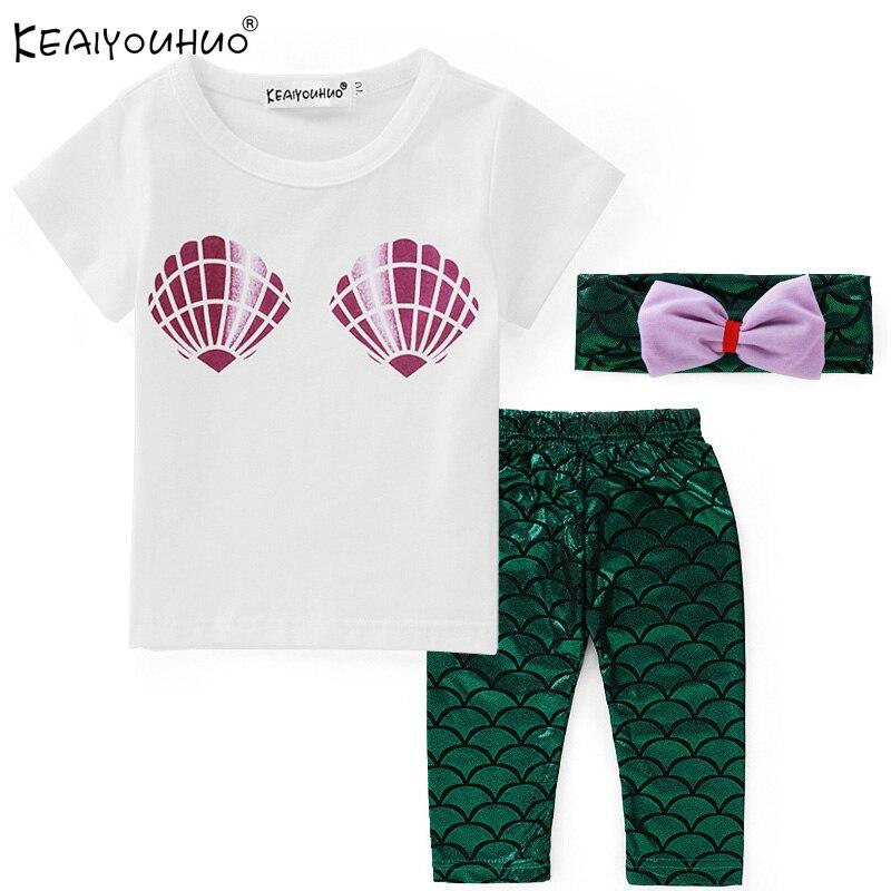 05cf4c942ad Keaiyouhuo Новая одежда для маленьких девочек летний спортивный костюм  короткий рукав cosrume Русалка комплект одежды из хлопка для малышей крещен.