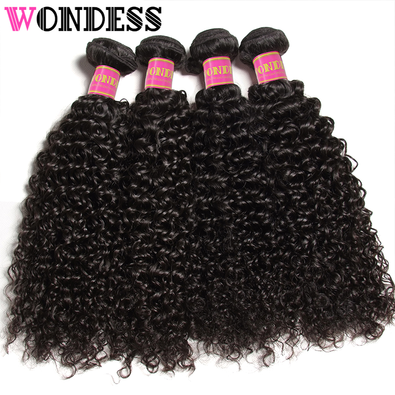 Wondess Hair Unprocessed Virgin Hair Peruvian Curly Bundles 4 PCS 8inch-26inch Human Hair Extensions Natural Color Hair Weaves