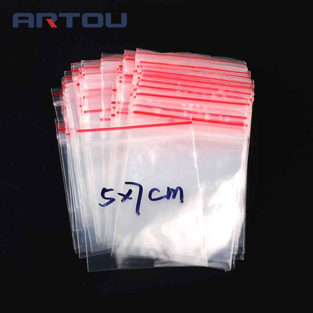 100PCS Ziplock Lock 5x7cm 5*7cm Zipped Poly Clear Bags Plastic Zip