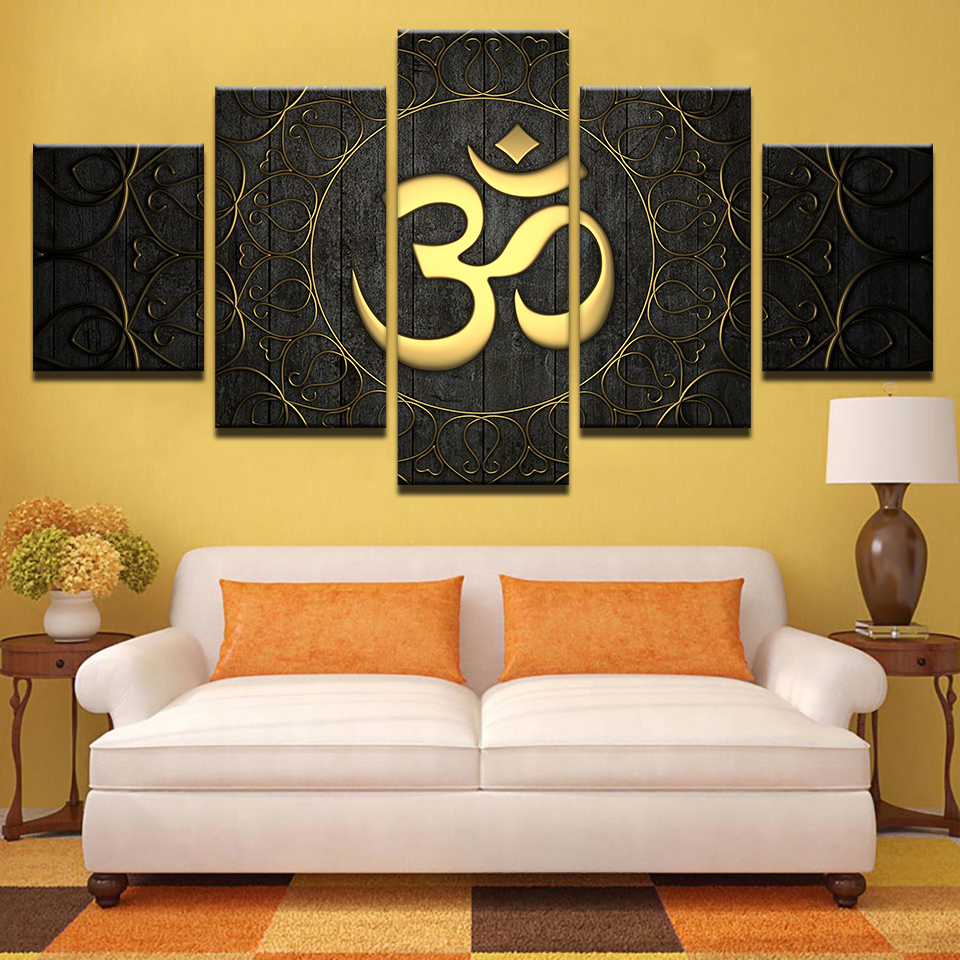Modern canvas wall art home decor for living room hd prints poster 5 piece buddha om yoga - Wall paintings for living room ...