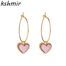 Han edition fashion contracted yakeli small earrings exquisite fashion ear love peach heart-shaped pendant gift цена