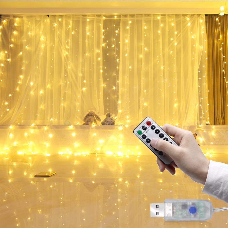 LED Curtain String Light Copper Rope 3M X 3M Room Holiday Decoration Room Lamps 5V USB Charger With Remote Dimmer