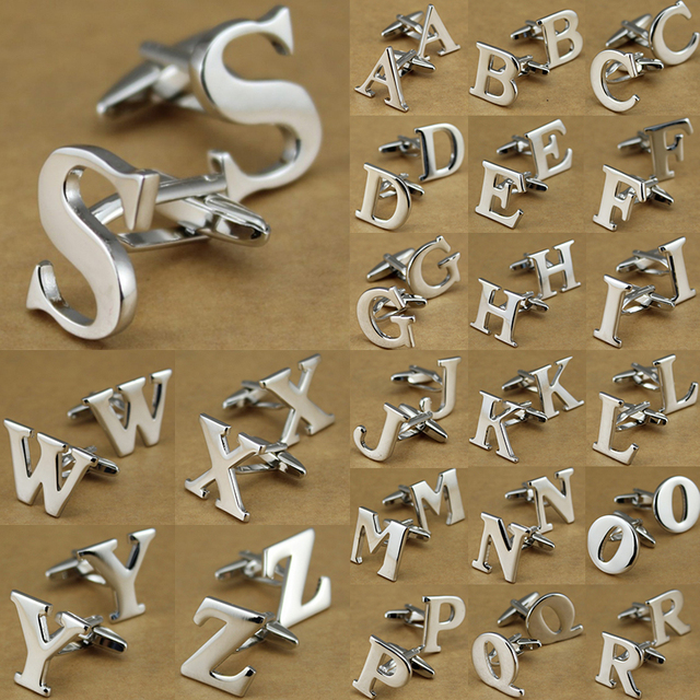 26 English Letters Silver Alphabet Men's French Shirt Cufflinks Cuff Direct