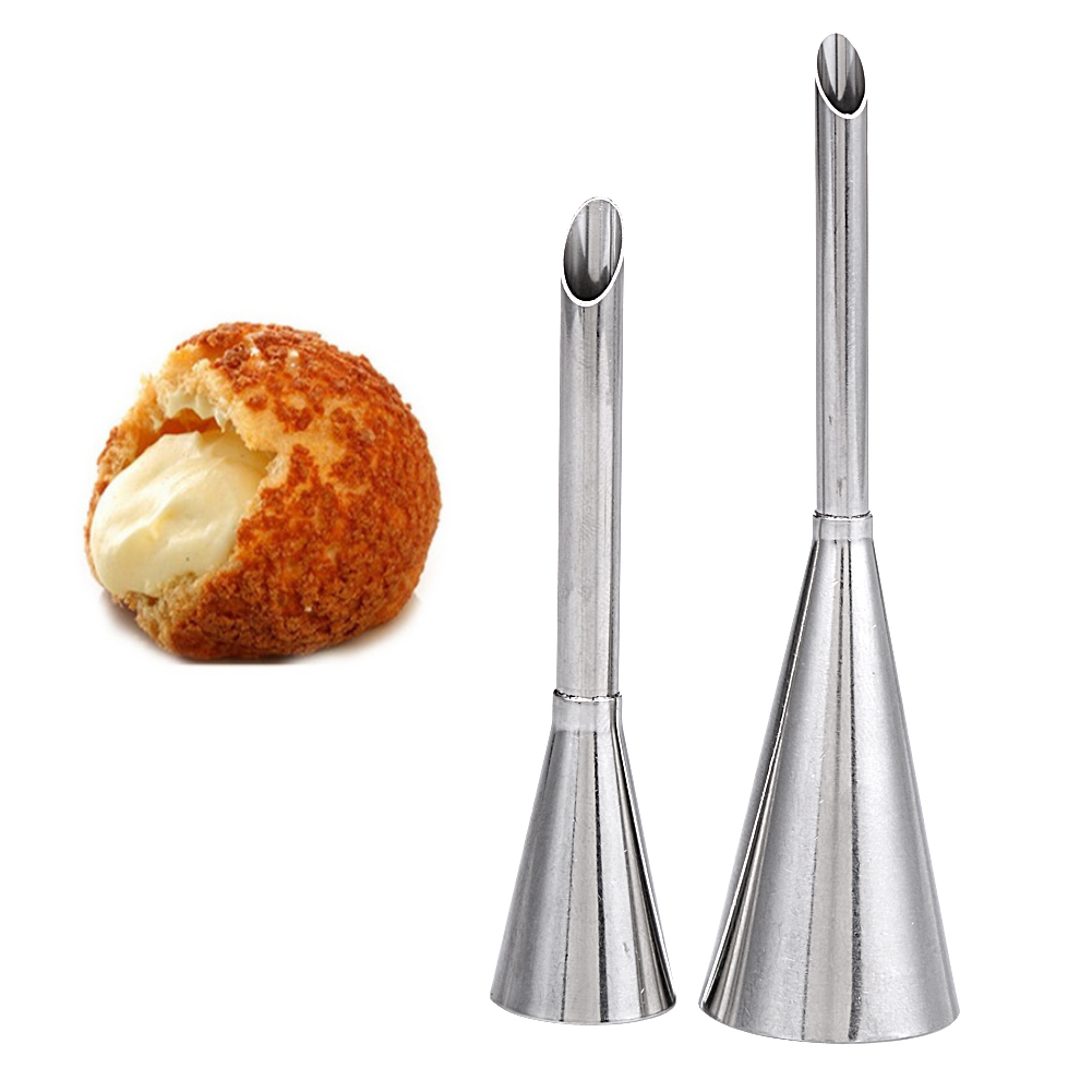 2 Pcs Pastry Puff Cream Cake Nozzle Stainless Steel Icing Piping Nozzles Cream Beak Confectionery Tool Cake Decorating Tool