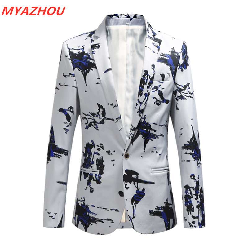 2019 New Men's Casual Blazer Large Size 5XL 6XL Fashion Men's Business Slim Suit Men's Fashion Print Wild Mens Stage Show Blazer