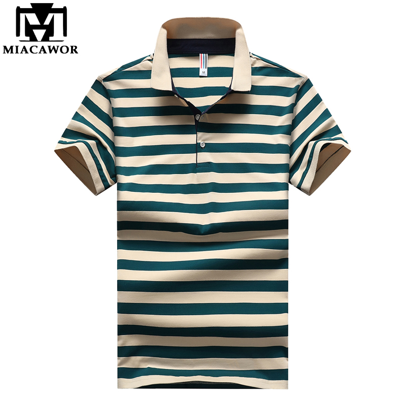 MIACAWOR New Plus Size Casual Striped Men   Polo   95%Cotton Summer Short-sleeve   Polo   Shirts Slim Fit Camisas   Polo   MT621