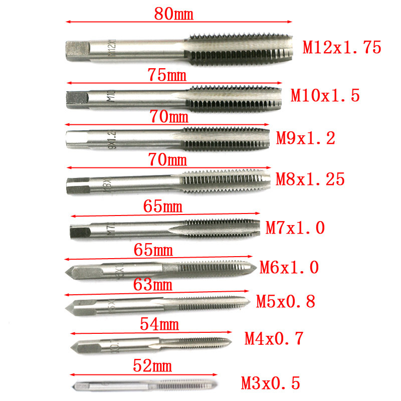 20pcs Tap Dies Set 1 16 39 39 1 2 39 39 NC Screw Thread Plugs Taps Carbon Steel Hand Screw Tap Hand Tools M3 M12 Titanium Plating Tool in Tap amp Die from Tools