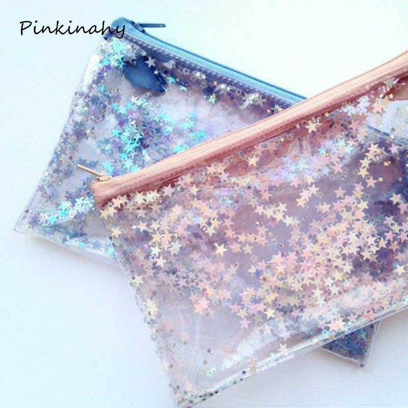 Transparent Paillette Glitter move Stars Silica Gel PVC Plastic Water Proof Pencil Bag Pencil Case Cosmetic Bag School Supply